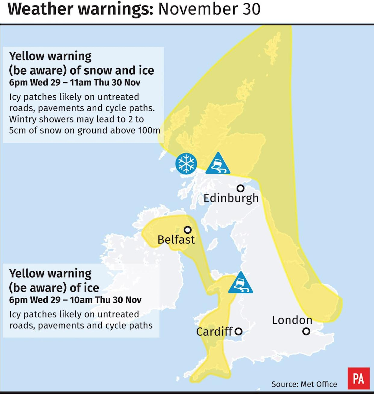 Weather warnings of snow and ice for November 30