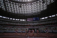 Japanese athletes compete during the women's 800 meter race at an athletics test event for the Tokyo 2020 Olympics Games at National Stadium in Tokyo, Sunday, May 9, 2021. (AP Photo/Shuji Kajiyama)