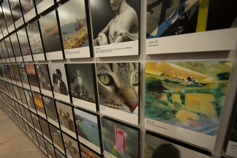 A close-up of cat eyes on display among treasured memories, favorite images and snapshots. (Photo: Gordon Donovan/Yahoo News)