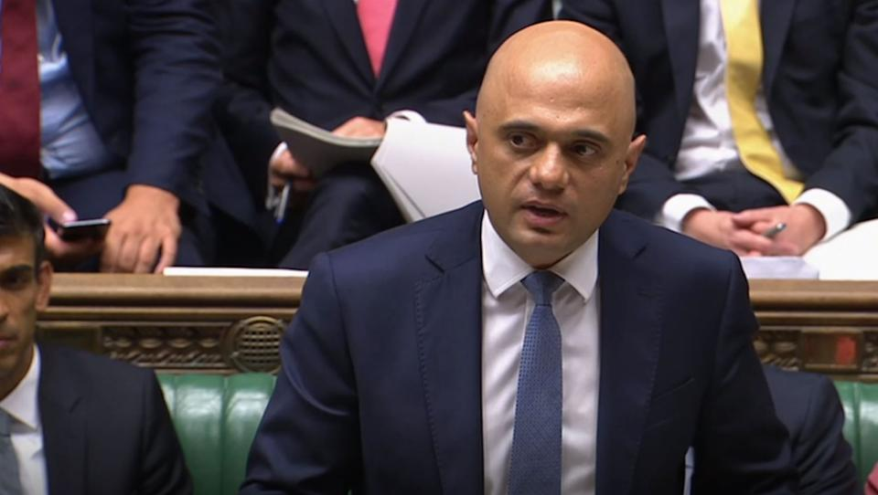 Chancellor of the Exchequer, Sajid Javid, makes a statement to Parliament confirming departmental budgets for 2020-21, in the House of Commons, London. (Photo by House of Commons/PA Images via Getty Images)