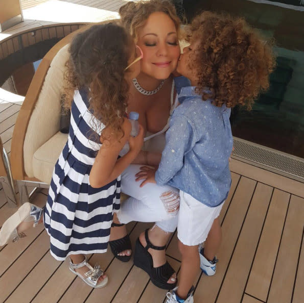 "<p>Like J.Lo, <a href=""https://www.yahoo.com/celebrity/tagged/mariah-carey/"" data-ylk=""slk:Mariah Carey"" class=""link rapid-noclick-resp"">Mariah Carey</a> gets double the love — and double the kisses! — from her 6-year-old twins, Monroe and Moroccan. What a lucky supreme diva she is. (Photo: <a href=""https://www.instagram.com/p/BHmfFVdh_Mg/?taken-by=mariahcarey&hl=en"" rel=""nofollow noopener"" target=""_blank"" data-ylk=""slk:Mariah Carey via Instagram"" class=""link rapid-noclick-resp"">Mariah Carey via Instagram</a>) </p>"