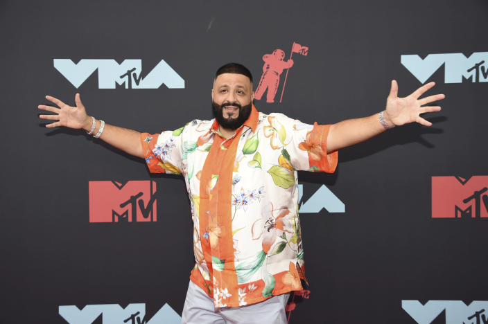 FILE - DJ Khaled arrives at the MTV Video Music Awards on Aug. 26, 2019, in Newark, N.J. Khaled turns 45 on Nov. 26. (Photo by Evan Agostini/Invision/AP, File)