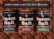 <p>Give everything a hint of finger-licking bacon taste with this <span>J&D's Bacon Salt 3-Flavor Variety Pack</span> ($23). It will spice anything up.</p>