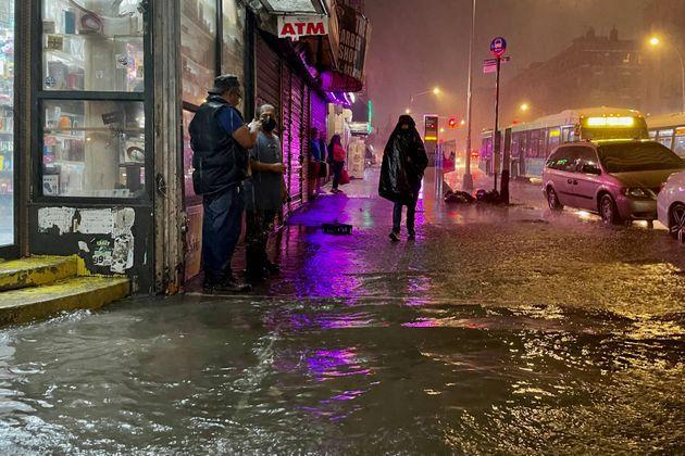 NEW YORK, NY - SEPTEMBER 01: People make their way in rainfall from the remnants of Hurricane Ida on September 1, 2021, in the Bronx borough of New York City. The once category 4 hurricane passed through New York City, dumping 3.15 inches of rain in the span of an hour at Central Park. (Photo by David Dee Delgado/Getty Images) (Photo: David Dee Delgado via Getty Images)