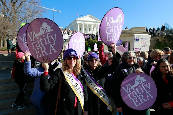 Equal Rights Amendment supporters demonstrate outside Virginia State Capitol in Richmond, Va, on Jan. 8, 2020.