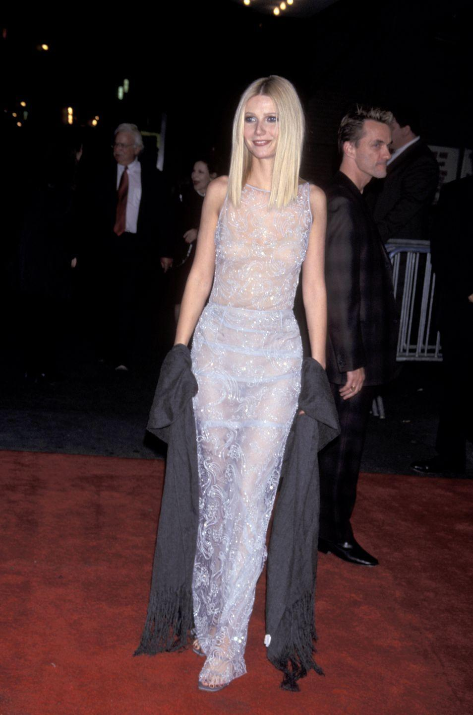 <p>At the New York city premiere of <em>Shakespeare in Love, </em>Gwyneth wore this very revealing beaded column on the red carpet. But hey, she looks pretty dang amazing in it. </p>
