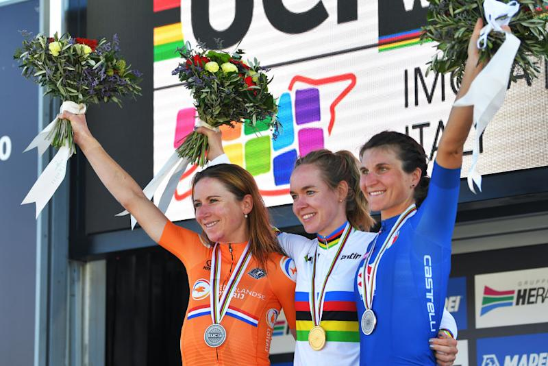 The podium at the road race World Championships