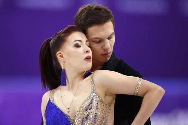 Figure Skating - Pyeongchang 2018 Winter Olympics - Ice Dance short dance competition - Gangneung Ice Arena - Gangneung, South Korea - February 19, 2018 - Ekaterina Bobrova and Dmitri Soloviev, Olympic athletes from Russia, perform. REUTERS/Phil Noble