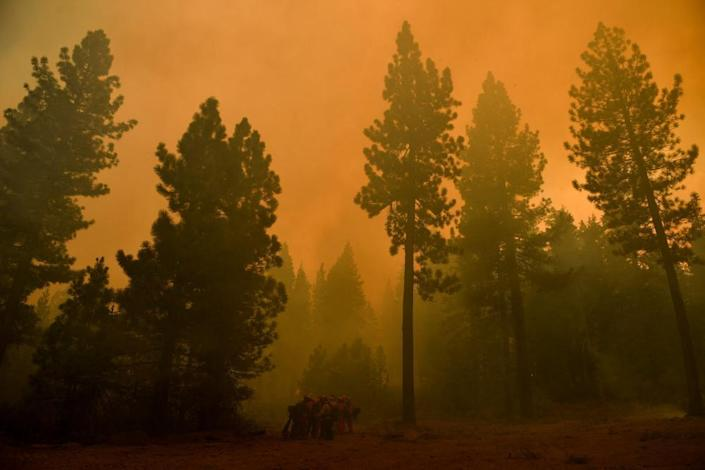 Firefighters work to contain the Dixie Fire in California.