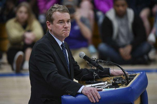 PHOTO: Sen. Michael Bennet speaks during a candlelight vigil at Highlands Ranch High School on May 8, 2019 in Highlands Ranch, Colo. (Michael Ciaglo/Getty Images)