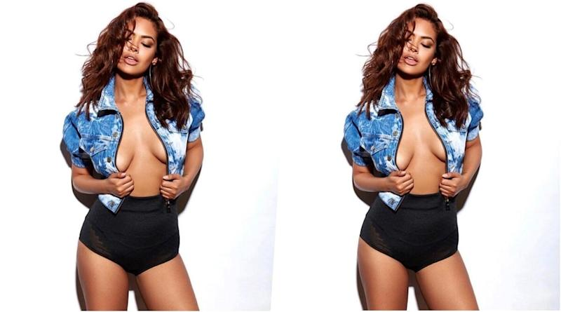 HOT! Esha Gupta Flaunts Massive Cleavage in Unbuttoned Denim Jacket and High-Waisted Black Knickers (View Pic)