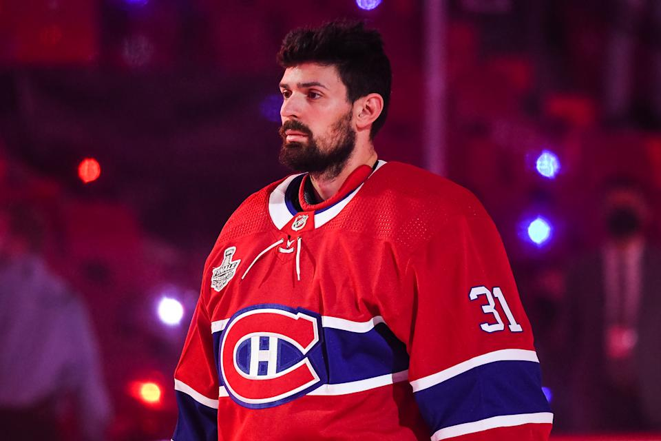MONTREAL, QC - JULY 05: Look on Montreal Canadiens goalie Carey Price (31) during the national anthem before the NHL Stanley Cup Playoffs Final game 4 between the Tampa Bay Lightning versus the Montreal Canadiens on July 05, 2021, at Bell Centre in Montreal, QC (Photo by David Kirouac/Icon Sportswire via Getty Images)