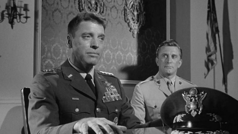 """Sedition on his mind: Right-wing Gen. James Scott (Burt Lancaster), flanked by aide and soon-to-be nemesis Kirk Douglas in """"Seven Days in May."""""""