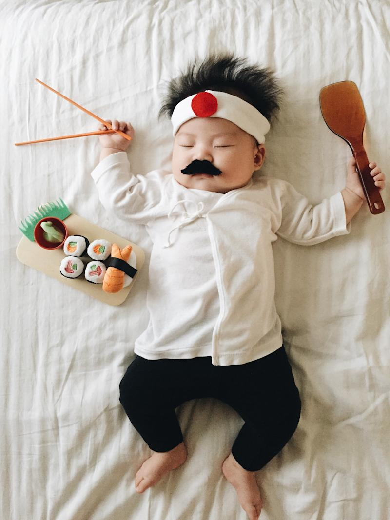 """""""Lately Joey's been into putting on costumes and sunglasses while playing, so maybe this is all subconsciously making her gravitate towards cosplay,"""" the mom explained. (Laura Izumikawa/Gallery Books)"""