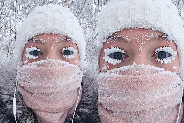 This woman's frozen eyelashes have started the winter's latest trend. (Photo: Instagram/anastasiagav)
