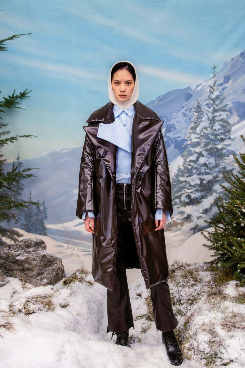 <p>For his AW21 collection, designer Eudon Choi took us on an idyllic escape to the Swiss Alps, which came about as a result of his own ongoing desire for escapism, something which has become central to his creative process. The collection was all about a chic take on après ski, injecting some holiday glamour with a 1960s twist, inspired by Chalet Ariel, Elizabeth Taylor and Richard Burton's ski chalet in Gstaad, Switzerland.</p>