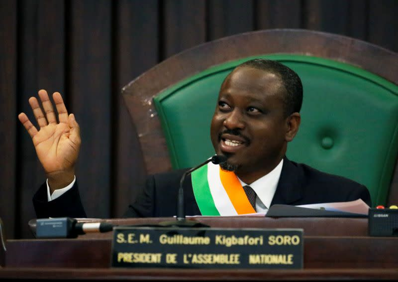 FILE PHOTO: Ivory Coast parliament speaker Guillaume Soro speaks at the National Assembly in Abidjan