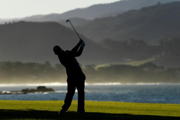 England's Paul Casey plays his second shot at the 18th hole on Monday on his way to a runner-up showing at the PGA Pebble Beach Pro-Am