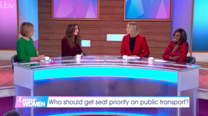 The Loose Women team discussed who should be a priority when it comes to sitting down on public transport. (ITV)