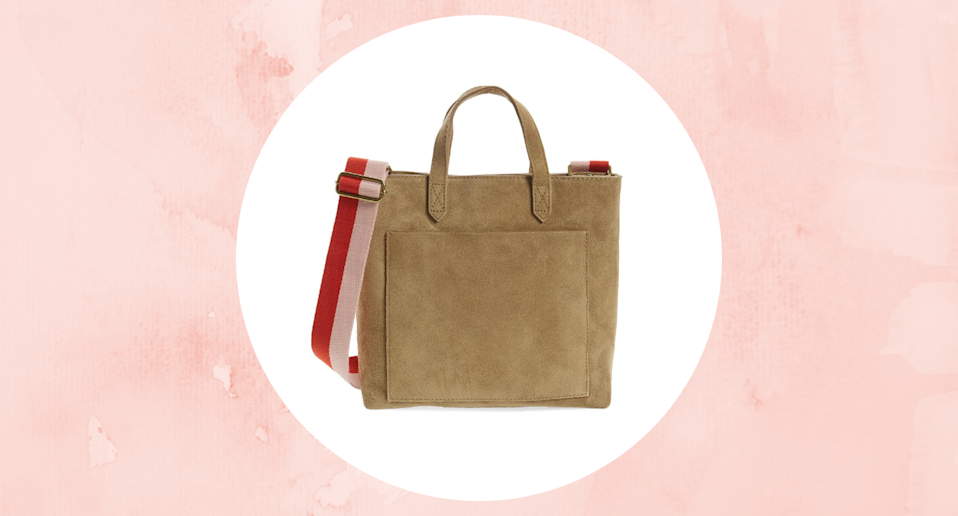 Save 50% on the Zip Top Suede Crossbody Transport Tote.