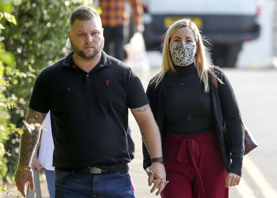 Teacher Kandice Barber, 35, arrives with her husband Daniel at Aylesbury Crown Court, Buckinghamshire, where she is appearing accused of engaging in illegal sexual activity with a 15-year-old boy.