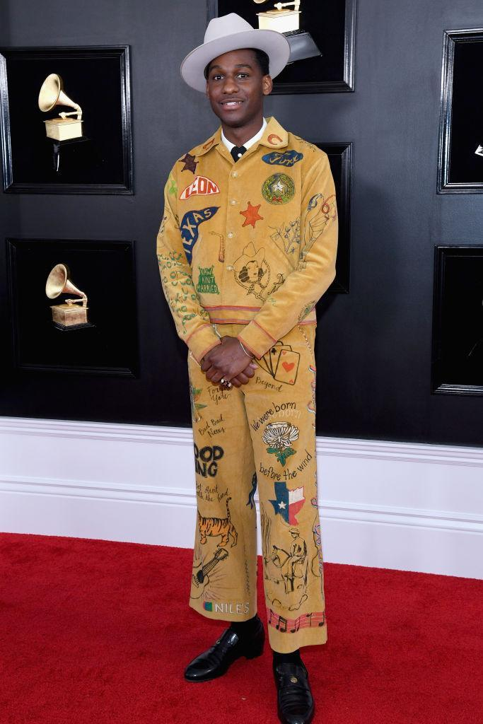 <p>Texas was being repped by crooner Leon Bridges, thanks to his colorful ensemble with shout-outs to his home state. He topped it all off with a giant white hat. </p>