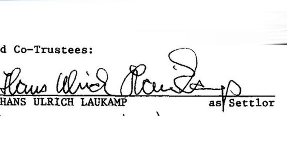 The signature of Hans-Ulrich Laukamp from September 1997. Photo: LiveScience