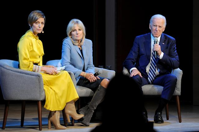 <em>Glamour</em> editor in chief Cindi Leive, left, with Jill Biden and former Vice President Joe Biden at the <em>Glamour</em> 2017 Women of the Year Live Summit at the Brooklyn Museum on Nov. 13, 2017. (Photo: Getty Images)