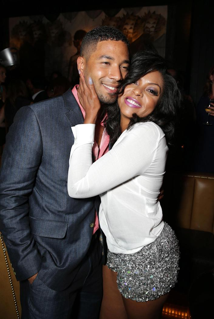 Jussie Smollett and Taraji P. Henson seen at the The World Premiere of Screen Gems' 'Think Like a Man Too' on Monday, June 9, 2014 in Los Angeles. (Photo by Eric Charbonneau/Invision for Screen Gems/AP Images)