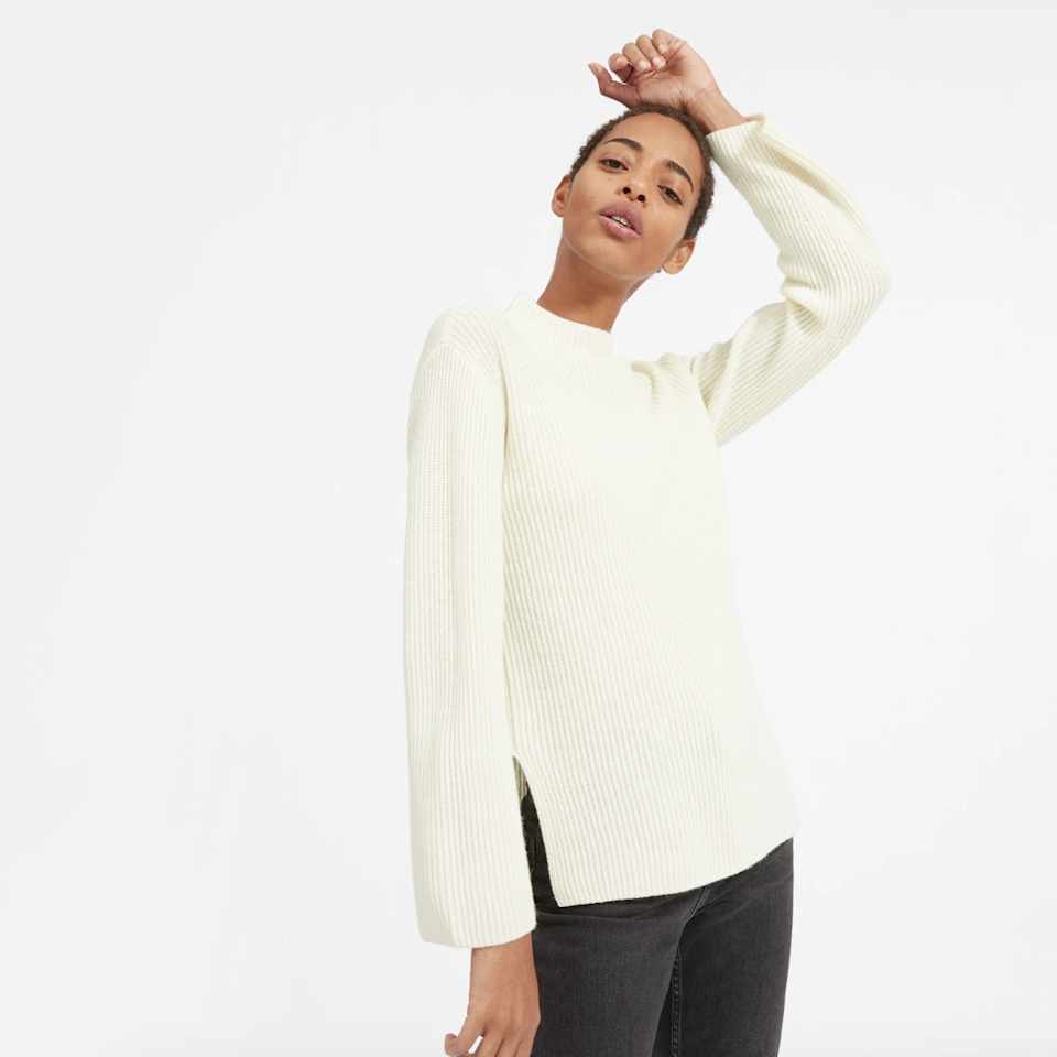 "$155, Everlane. <a href=""https://www.everlane.com/products/womens-cashmere-rib-mockneck-ivory?collection=womens-sale"">Get it now!</a>"