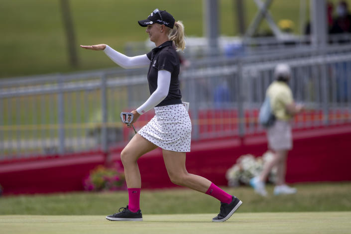 Madelene Sagstrom reacts on the 18th hole during the first round of the Meijer LPGA Classic golf tournament at the Blythefield Country Club in Belmont, Mich., Thursday, June 17, 2021. (Cory Morse/The Grand Rapids Press via AP)