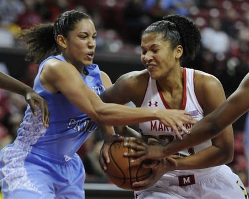Maryland's Alyssa Thomas, right, drives to the basket as North Carolina's Krista Gross defends during the second half of an NCAA college basketball game on Thursday, Jan. 24, 2013, in College Park, Md. Maryland won 85-59. (AP Photo/Gail Burton)