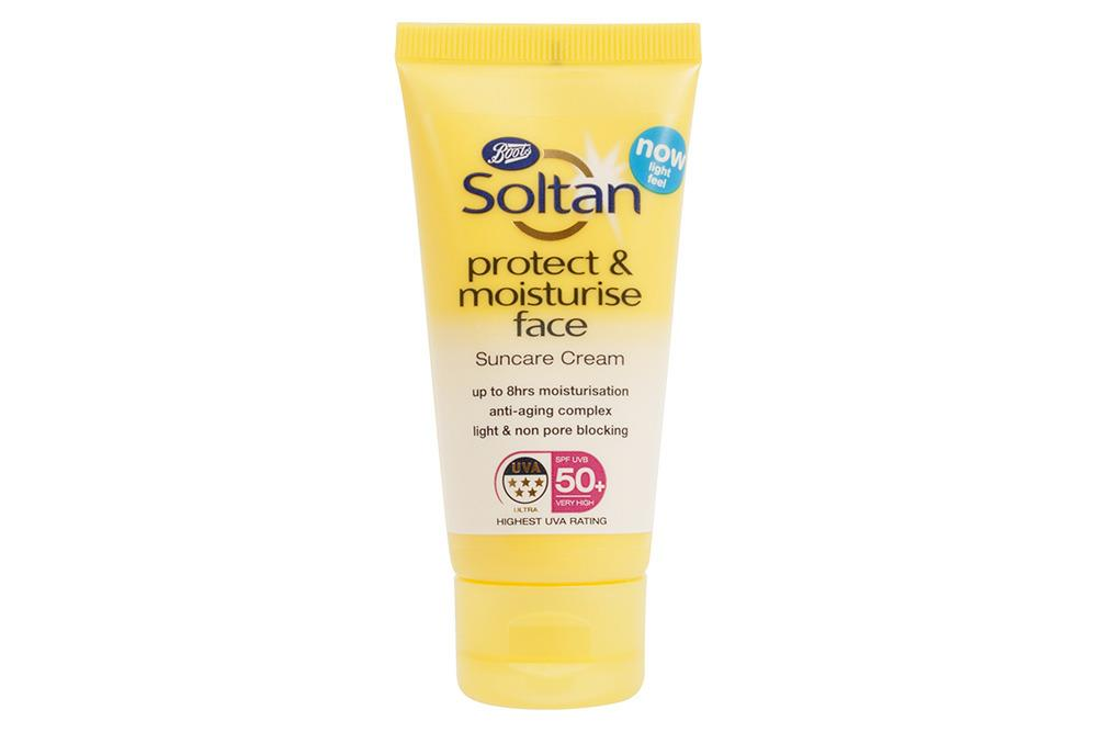 """<p>This no-nonsense, high-factor cream is ideal for those wanting unfussy protection with a boost of moisturiser. It's light and absorbs fast with no residue or white marks.</p><p><a href=""""http://www.boots.com/en/Soltan-Protect-Moisturise-Face-Cream-SPF50-50ML_1451010/"""">Boots, £5</a></p>"""