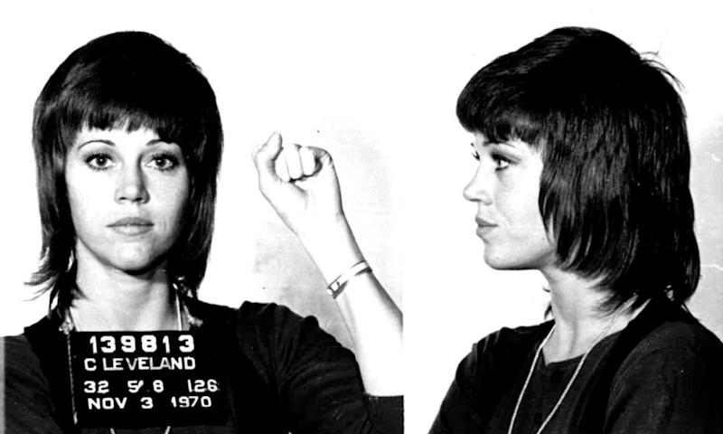 The defiant mugshot from Fonda's arrest in 1970 when customs officials insisted the vitamins in her suitcase were illegal drugs.