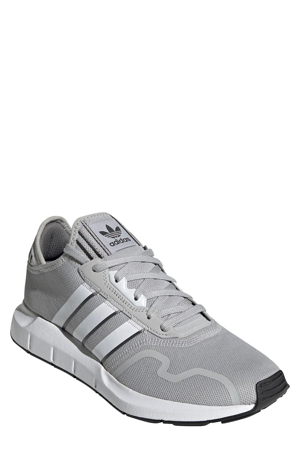 """<p><strong>ADIDAS</strong></p><p>nordstrom.com</p><p><a href=""""https://go.redirectingat.com?id=74968X1596630&url=https%3A%2F%2Fwww.nordstrom.com%2Fs%2Fadidas-swift-run-x-sneaker-men%2F5747490&sref=https%3A%2F%2Fwww.bestproducts.com%2Ffitness%2Fg37158206%2Fnordstroms-anniversary-sale-best-sneakers%2F"""" rel=""""nofollow noopener"""" target=""""_blank"""" data-ylk=""""slk:BUY IT HERE"""" class=""""link rapid-noclick-resp"""">BUY IT HERE</a></p><p><del>$85<br></del><strong>$52.90</strong></p><p>Want to take a walk down memory lane? Adidas upgraded this '80s-inspired pair with a pull-on sock upper and EVA cushioning.</p>"""
