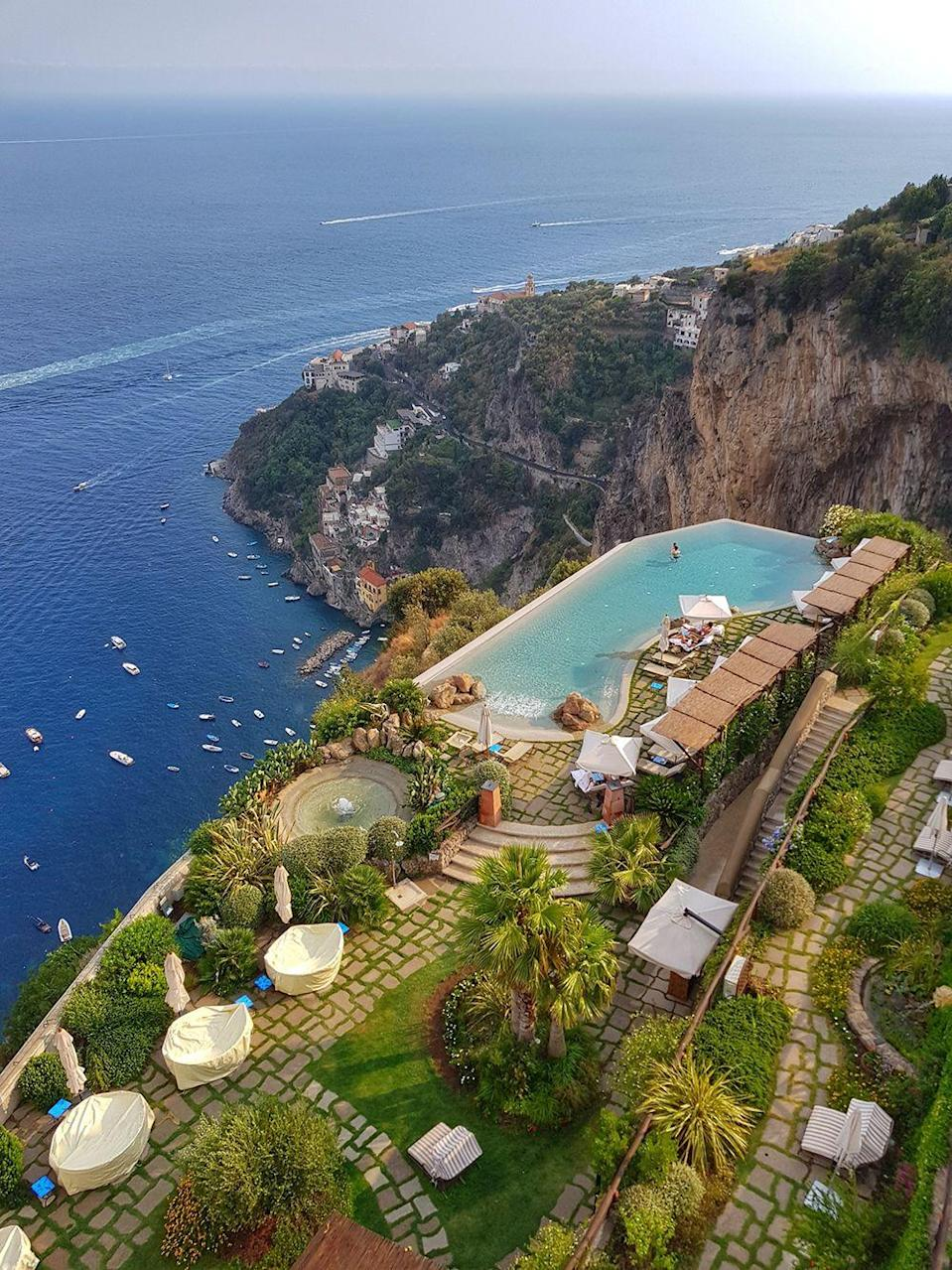 """<p>This cool pool can be found on a secluded clifftop between Amalfi and Postiano in the grounds of <a href=""""https://monasterosantarosa.com"""" rel=""""nofollow noopener"""" target=""""_blank"""" data-ylk=""""slk:Monastero"""" class=""""link rapid-noclick-resp"""">Monastero</a>, an exclusive boutique, adult-only escape in a spectacular former 17th century monastery. With just twenty romantic rooms, it's one to remember for a honeymoon.</p>"""