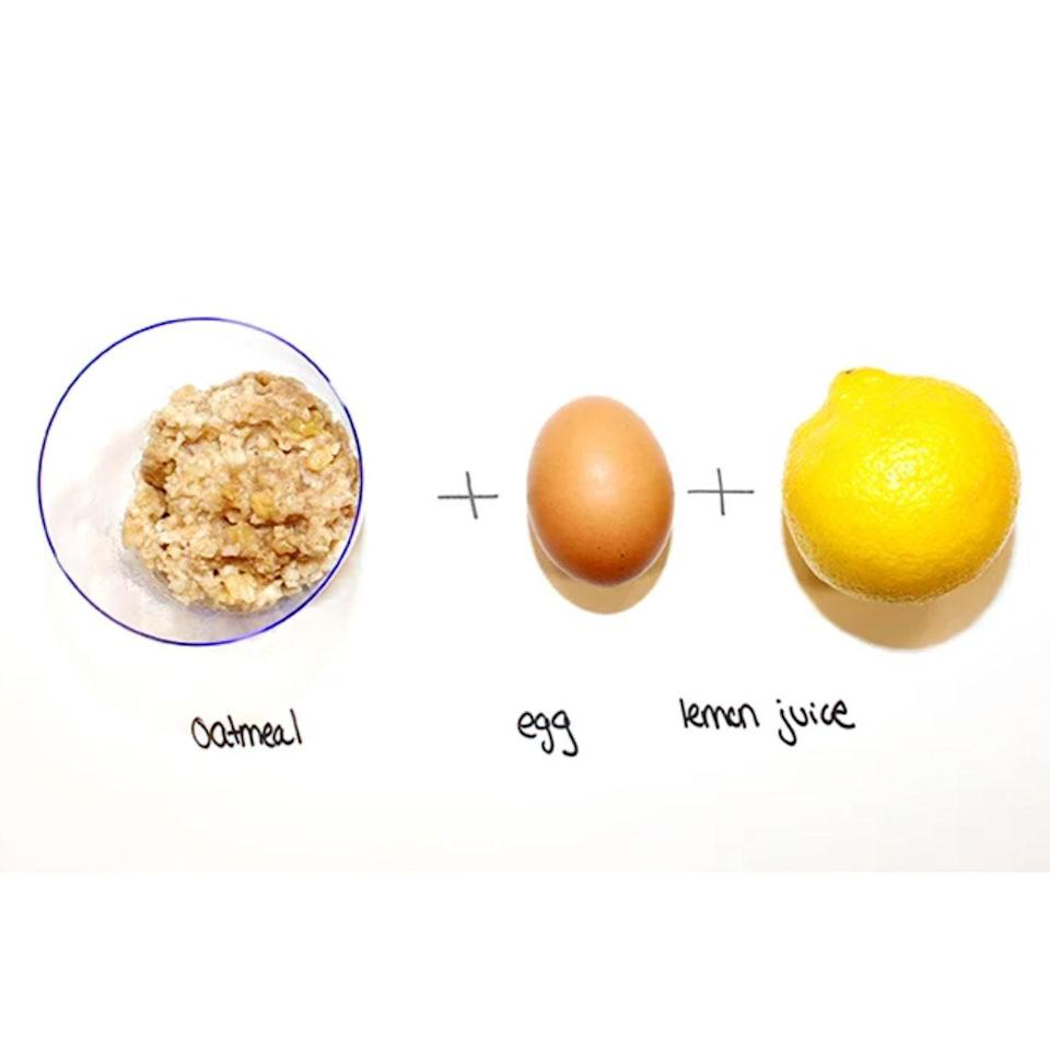 """<p><strong>Ingredients:</strong></p> <ul> <li>1/2 cup cooked oatmeal, cooled (duh)</li> <li>1 egg</li> <li>1 tablespoon lemon juice</li> </ul> <p>The acid in the lemon juice goes to work removing excess oil and dead skin cells (it's all those <a href=""""http://www.allure.com/skin-care/skin-care-glossary?mbid=synd_yahoo_rss"""" rel=""""nofollow noopener"""" target=""""_blank"""" data-ylk=""""slk:alpha hydroxy acids"""" class=""""link rapid-noclick-resp"""">alpha hydroxy acids</a> packed in there); meanwhile, the oatmeal soothes the skin and calms any patches of redness.</p>"""