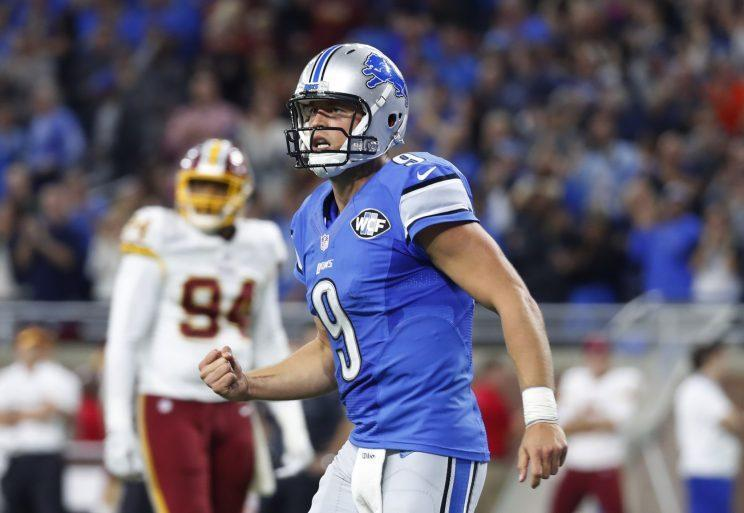 Matthew Stafford led a game-winning drive in the final minute to beat Washington (AP)