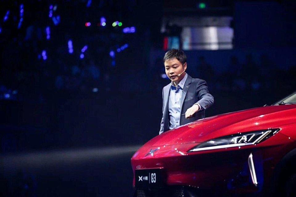 He Xiaopeng, founder and chief executive of his eponymous electric car maker Xpeng, at the launch of the company's first model, the all-electric G3 crossover vehicle, on March 7, 2019. Photo: Handout