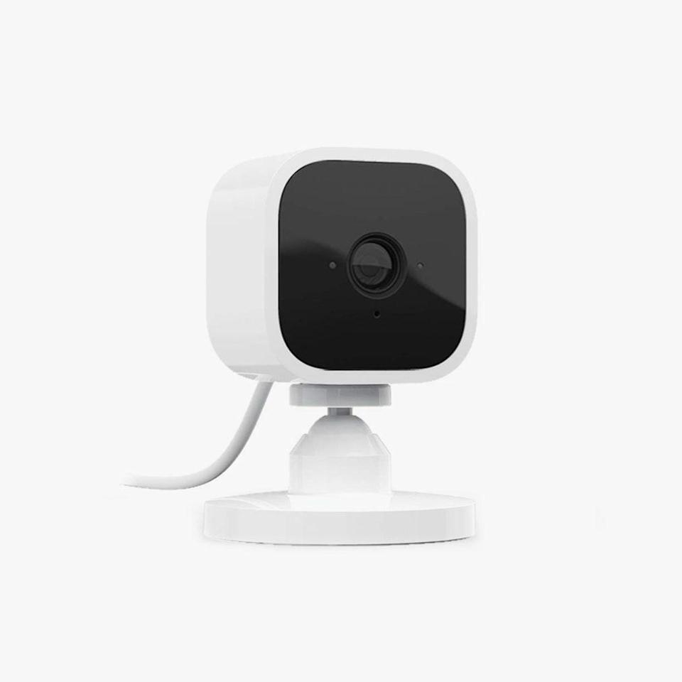 "Not only can you see everything that's happening inside your house when you're not there, but you can also talk to whoever is there through the Blink app. $35, AMAZON. <a href=""https://www.amazon.com/Blink-Mini-Indoor-Camera/dp/B07X6C9RMF/"" rel=""nofollow noopener"" target=""_blank"" data-ylk=""slk:Get it now!"" class=""link rapid-noclick-resp"">Get it now!</a>"