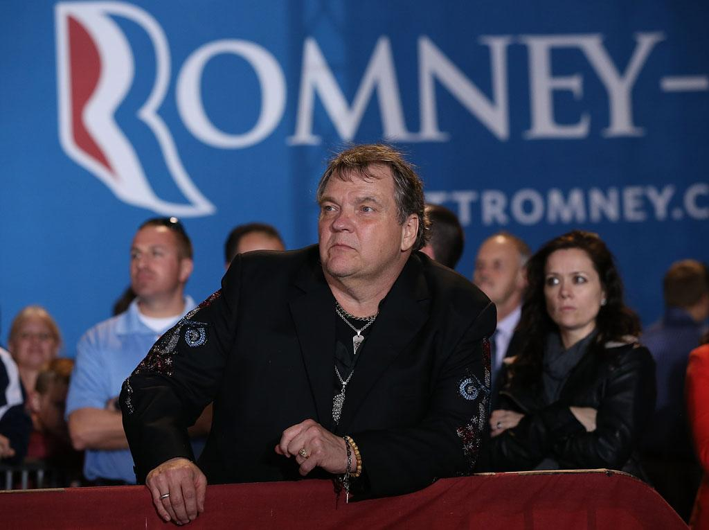 "Team Romney: Rocker Meat Loaf, the song goes, would do anything for love. And now, the 65-year-old says he's also committed to Mitt Romney. At a rally in the battleground state of Ohio on Thursday, the singer endorsed a presidential candidate for the first time. ""I have never been in any political agenda in my life, but I think that in 2012 this is the most important election in the history of the United States"" the ""Bat Out of Hell"" singer said. ""Storm clouds [have] come over the United States. There is thunderstorms over Europe. There are hail storms, and I mean major hail storms, in the Middle East."" Romney, Meat Loaf said, is the one to ""fight the storm."" (10/24/2012)"