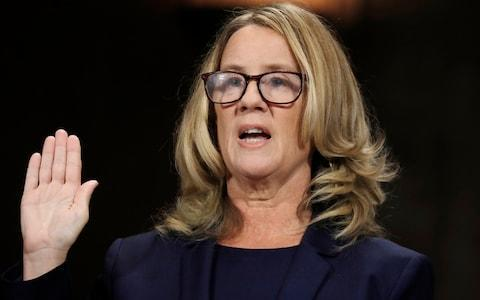 Prof Ford's testimony was closely followed by Americans watching at home - Credit: Reuters