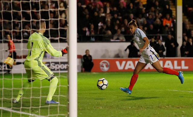 Soccer Football - Women's World Cup Qualifier - England vs Bosnia & Herzegovina - The Banks's Stadium, Walsall, Britain - November 24, 2017 England's Nikita Parris scores their second goal Action Images via Reuters/Andrew Boyers