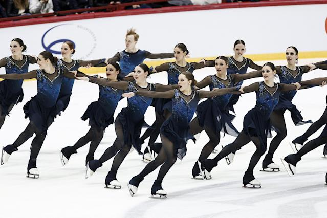ISU World Synchronized Skating Championships 2019 - Short Program - Helsinki Ice Hall, Helsinki, Finland - April 12, 2019. Canada's Team Nova Senior competes. Lehtikuva/Roni Rekomaa via REUTERS ATTENTION EDITORS - THIS IMAGE WAS PROVIDED BY A THIRD PARTY. NO THIRD PARTY SALES. NOT FOR USE BY REUTERS THIRD PARTY DISTRIBUTORS. FINLAND OUT. NO COMMERCIAL OR EDITORIAL SALES IN FINLAND.