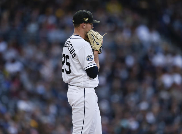 San Diego Padres starting pitcher Nick Margevicius reacts after giving up a solo home run to Pittsburgh Pirates' Gregory Polanco during the fifth inning of a baseball game in San Diego, Saturday, May 18, 2019. (AP Photo/Kelvin Kuo)