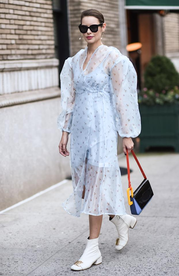 Marina Ingvarsson is seen wearing a Marc Jacobs light blue dress outside the Marc Jacobs show. [Photo: Getty]