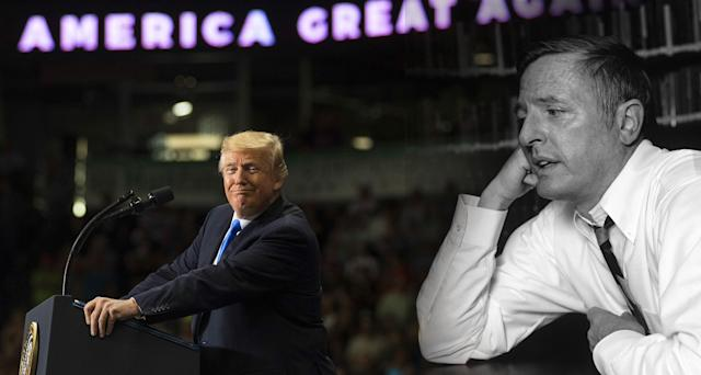 President Trump and conservative author and commentator William F. Buckley. (Photo illustration: Yahoo News; photos: Carolyn Kaster/AP, Waring Abbott/Getty Images)