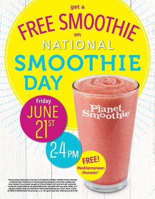 For two hours only, Planet Smoothie locations will offer a FREE 16oz Mediterranean Monster smoothie to all customers on Friday, June 21 from 2:00 pm – 4:00 pm local time.