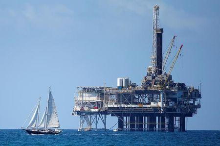 An offshore oil platform is seen in Huntington Beach