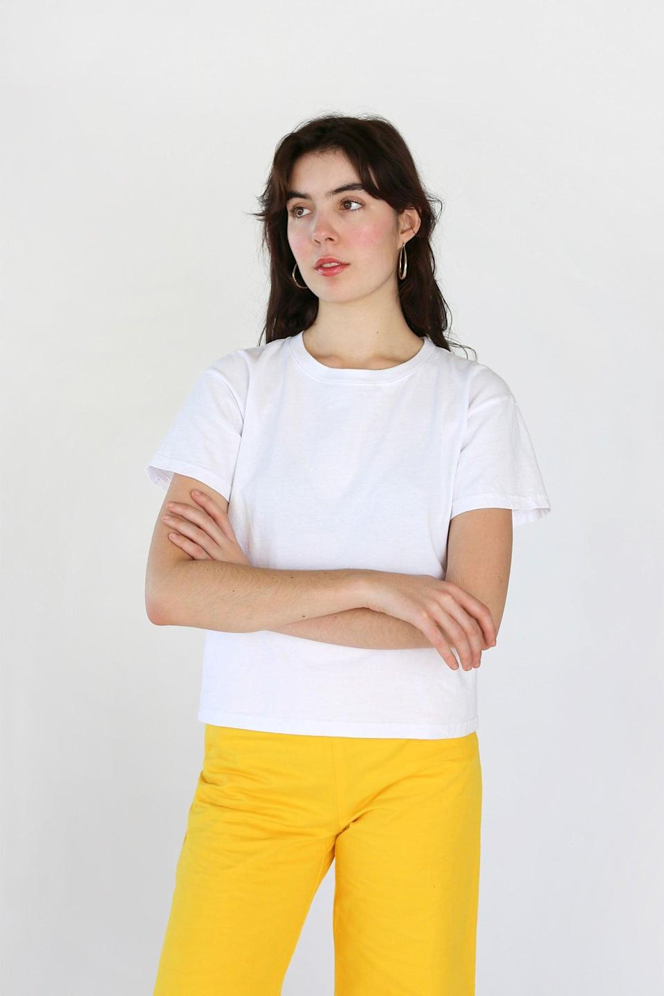 """<p>Everybody.World is an LA-based brand created by Iris Alonzo and Carolina Crespo. The brand launched the world's first 100 percent recycled cotton t-shirt, dubbed the """"Trash Tee,"""" back in 2016, and have been dedicated to furthering sustainable fashion ever since. </p> <p><strong>What We'd Buy</strong>: <span>Everybody.World Recycled Cotton Boxy Trash Tee</span> ($39)</p>"""